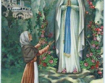 Pious image laminated prayer to the back N D de Lourdes 8.5 cm x 5.4 cm