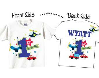 1st Birthday Shirts or Any Birthday for Boys with Transportation and Cars Tees