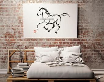 Horse Painting, Wild Horses, Calligraphy Art, Sumi-e, Surreal Artwork, Minimalist Watercolor, Zen
