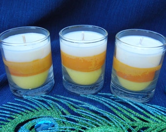 Candy Corn Scented Soy Votive Candles Tri-Color Set of Three