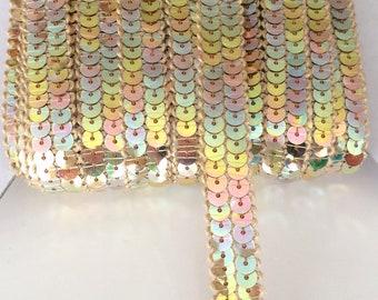 Galon paillettes sequins rond OR NACRÉ sur 2 rangs vendu a la coupe a partir de 20cm