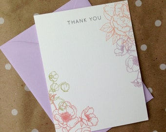 Purple floral thank you cards