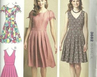 Womens Dress Fitted Bodice, Pleated Skirt, Size XS, S, M, L. XL Uncut Pattern,  Kwik Sew 3682 Sealed