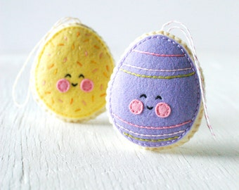 PDF Pattern - Sugar Cookie Easter Egg, Easter Egg Ornament Pattern, Kawaii Softie Sewing Pattern, Felt Ornament Pattern