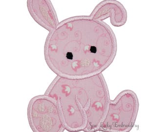 Pink Baby Bunny Appliqued Embroidered Patch, Sew or Iron on
