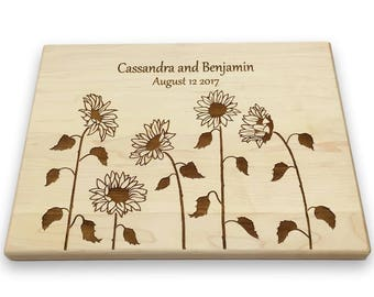 Personalized Cutting Board with Sunflowers Custom Cutting Board Kitchen Art Housewarming Gift Mother's Day Bridal Shower Wedding Gift