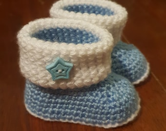 Baby Booties - Blue and White