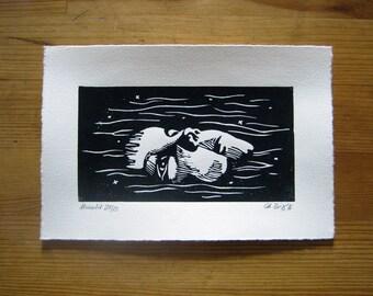Moonlit - lino print, linocut