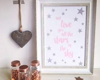 We love you all the stars in the sky Wall art, Girl, Nursery print, Pink, Wall decor