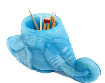Elephant Head Toothpick & Match Holder, Vintage Degenhart Boyd Opaque Blue Slag Glass