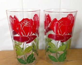 MEMORIAL DAY SALE 2 vintage red roses glasses Anchor Hocking