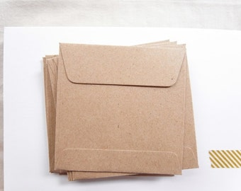 Set of 50 Kraft Brown Square Envelopes 9.5cmX9.5cm.