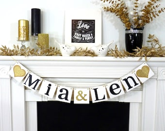 Wedding Garland / Custom Names Banner / Wedding Banner / Couples Shower Decor / Engagement Party / Wedding Decorations / GOLD or SILVER