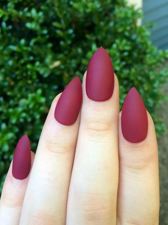 Matte nails, maroon nails, fake nails, stiletto nails from ...