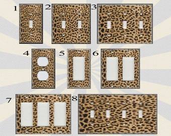 Metal Light Switch Plate Cover   Animal Print Decor Leopard Print Home Decor  Brown Leopard Decor