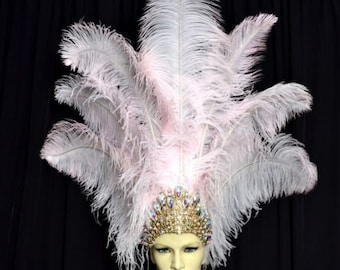 Ostrich Feather Headdress Showgirl Samba Carnival . MADE IN USA