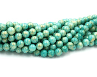 8mm Coastal Turquoise Gold Dust Jade Beads Opaque Smooth - 16 inch strand