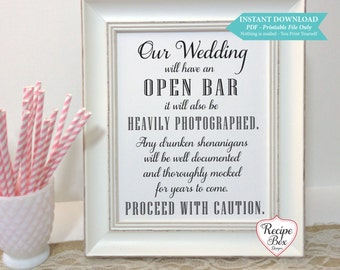Open bar menu etsy our wedding will have an open bar printable wedding sign 8x10 print yourself drunken solutioingenieria Gallery