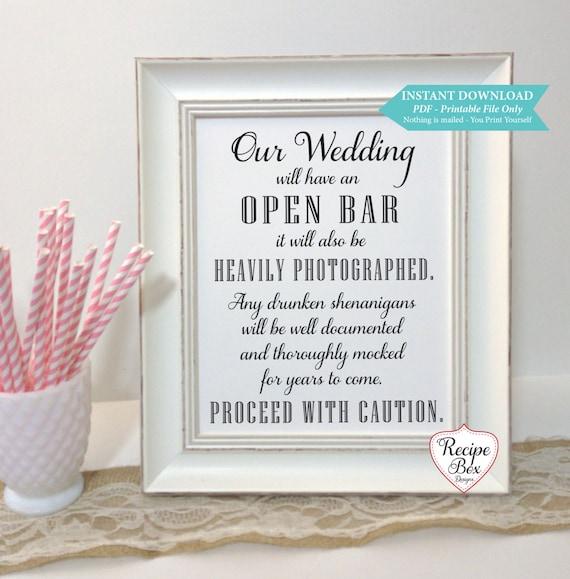 Printable wedding signs recipe box designs our wedding will have an open bar printable wedding sign 8x10 print yourself drunken solutioingenieria Choice Image