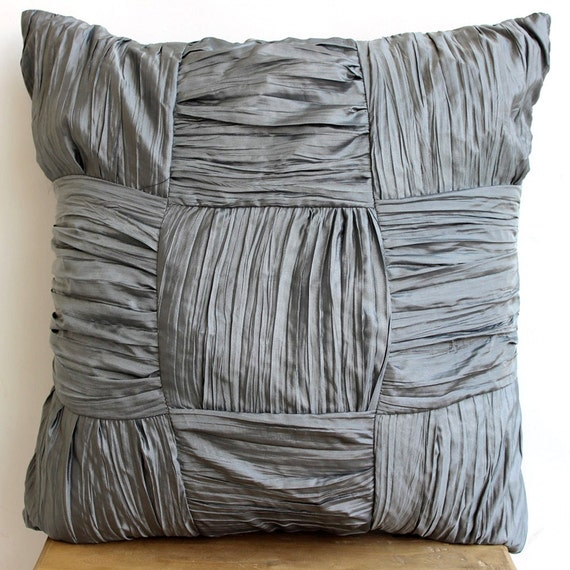 Gray Couch Pillows: Grey Throw Pillows Cover For Couch Square Checkered Crushed