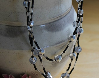 OOAK Clear/Silver and Black Beaded 3-Strand Necklace