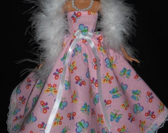 3 Piece Outfit Barbie Doll Dress Handmade Gown Pink with Butterflys and Lace with Boa and Necklace