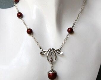 Swarovski Pearl Acorn Necklace in Burgundy or Charcoal, Acorn Necklace, Autumn Necklace, Pearl Necklace