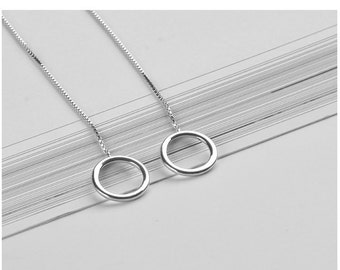 Sterling Silver Threader Earrings Pull Through Earrings Long Silver Earrings Circle Earrings Ear Thread Minimalist Geometric Earrings