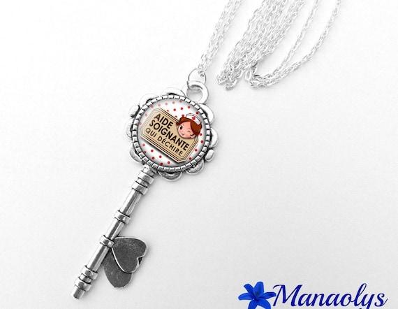 "Necklace silver key, message ""Caregiver who rocks"" glass cabochon 355"