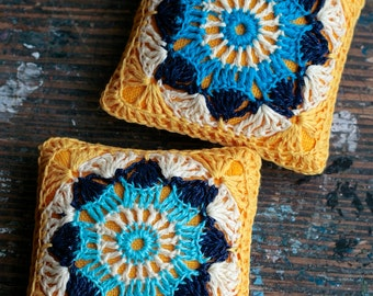 Linen  pincushion - crochet motif - yellow and turquoise