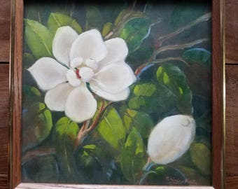 Magnolia Painting by Shirley Katz, Shirley Katz Art, Modern Art, Original Painting, Magnolia Painting, Flower Painting