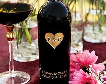 Monogram Heart Etched Wine