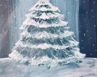 Ready to ship gifts one of a kind Christmas Tree Painting- original acrylic painting on canvas