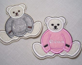 Shield Patch Thermo * 10 x 9 cm * bear Teddy BEAR gray or pink - Applique iron-on