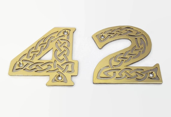 Handmade celtic knot door numbers brass and stainless steel urtaz Choice Image