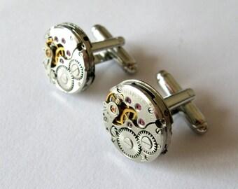 Steampunk cufflinks 16 mm Watch cufflinks Watch movements cufflinks Perfect gift Steampunk office Round cufflinks Mens accessories