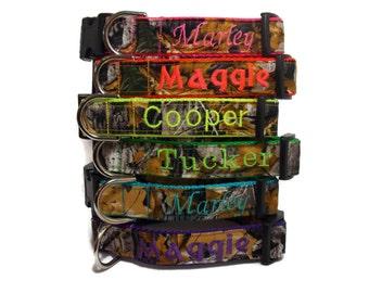 Camo Dog Collar, Camo Collars, Custom Dog Collars, Camoflage Collars for Hunting Dogs, Bright Collars with Name, Tagless Collars for Dogs