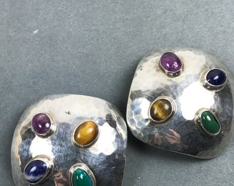 Vintage Mexico Sterling Silver GemStone Earrings