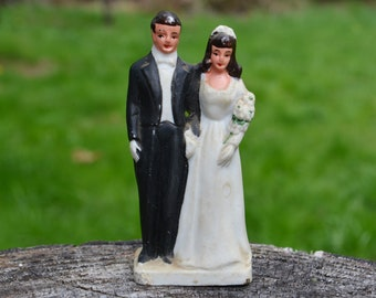 1940s Ceramic Wedding Cake Topper, Bride & Groom
