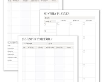 Student Timetable 4 Printable Pages A4 A5