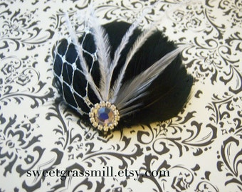 Fascinator - PETIT MIDNIGHT - Great Gatsby Black Feather White Gray Ostrich Silver Netting Crystal Bridal Clip