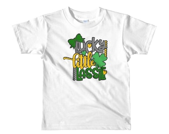 Lucky little lassie st patrick's day irish four leaf clover Short sleeve kids t-shirt