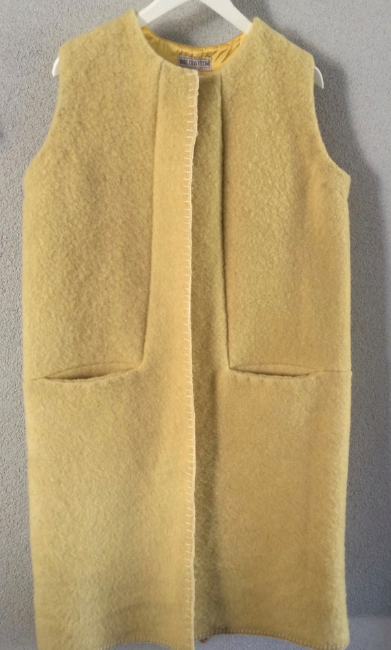 Handmade blanketcoat cardigan long waistcoat, made of a yellow vintage blanket,  size M L