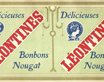 French Candy Leontines Bonbon Nougat Vintage Label, 1920s