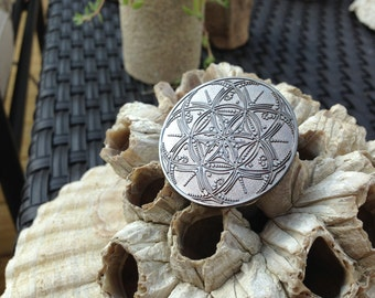 ON SALE! Black Metal Seed Of Life Sacred Geometry Hat Pin, Artwork Handrawn By Tyler Epe Exclusively For Enlighten