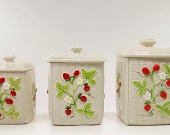 Vintage Otagiri 1982 Kitchen Ceramic canister set with Strawberries/ Vintage kitchen/ Kitschy kitchen canisters/ Vintage Strawberries