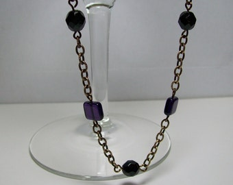 Black and Purple Czech Glass and Brass Necklace. Shorter Version. Brass Oxide Chain Necklace. Wirewrapped Necklace. Downton Abbey.