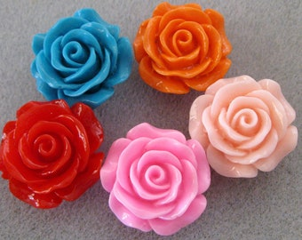 Drilled Lucite Rose Flower Bead With Hole 28mm Choose Your Color 918