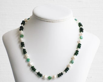 Freshwater Pearl, Green Millefiori and Green Glass Necklace
