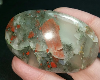 51mm Bloodstone with pyrite can be called seftonite also 51 by 35 by 6.5 113ct